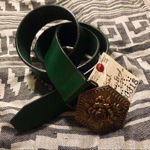 Lucky Brand | Green Belt + VTG Floral Buckle